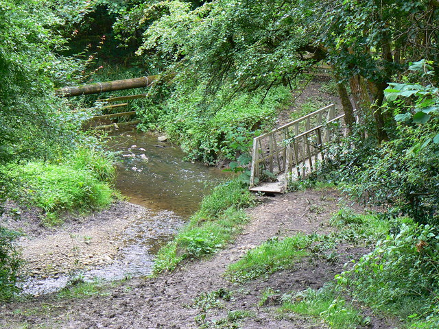 Confluence of streams and a bridge Lower Woods