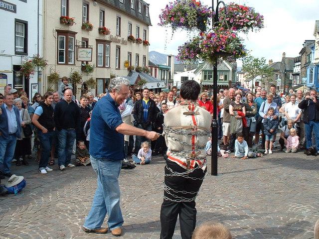 Escapologist entertains the crowds, Keswick