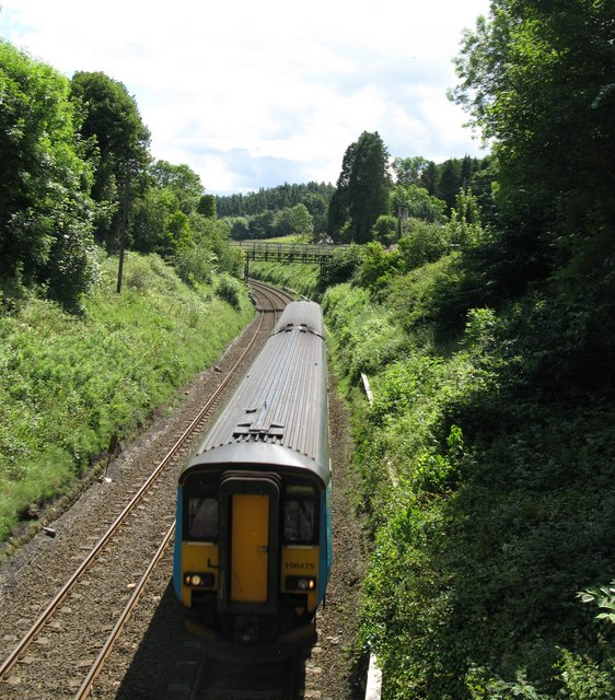 Train approaching Riding Mill station