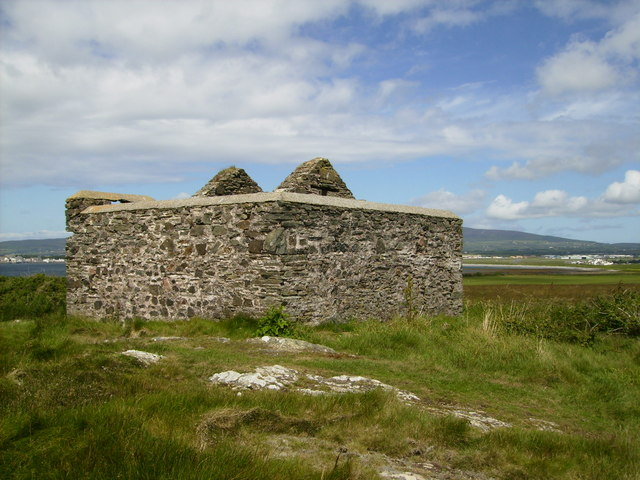 Partially restored remains of building on Langness Peninsula