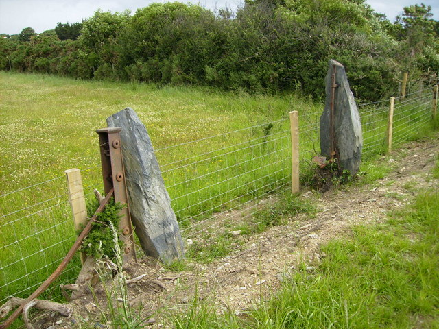 A pair of old slate gateposts