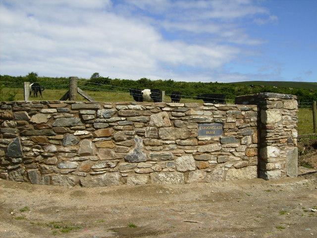 Stone wall at Kerrowglass Farm lane end
