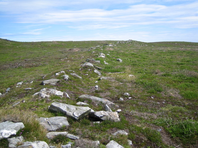 Remains of an old Manx dry stone wall on coastal moorland