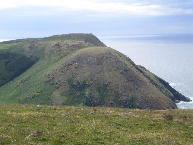 Bradda Hill seen from the coastal path above Fleshwick Bay