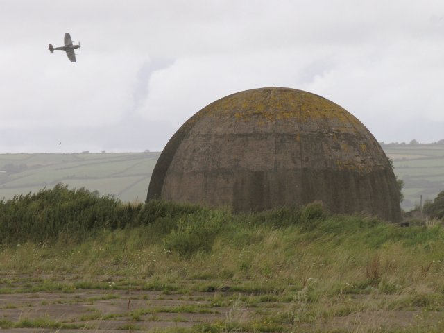 Disused RAF training facility and a Spitfire