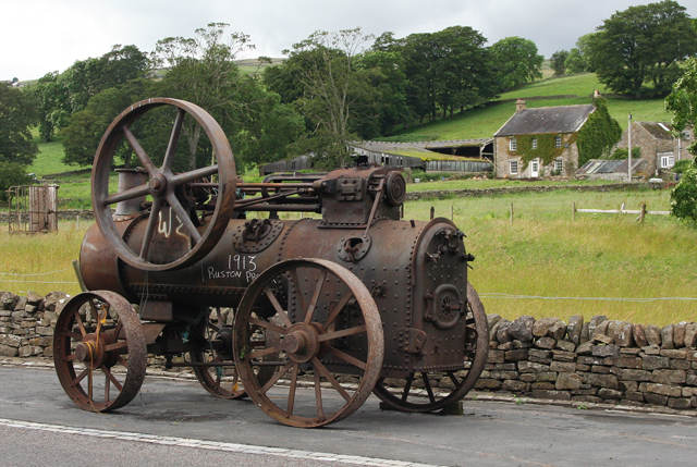 Old agricultural steam engine