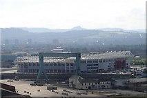 NZ5020 : The Riverside Stadium seen from the Transporter Bridge. by Steve Frost