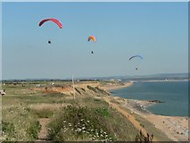 SZ2492 : Paragliding at Barton on Sea by Chris Downer