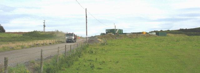 A lorry leaving the Rhuddlan Bach Limestone Quarry
