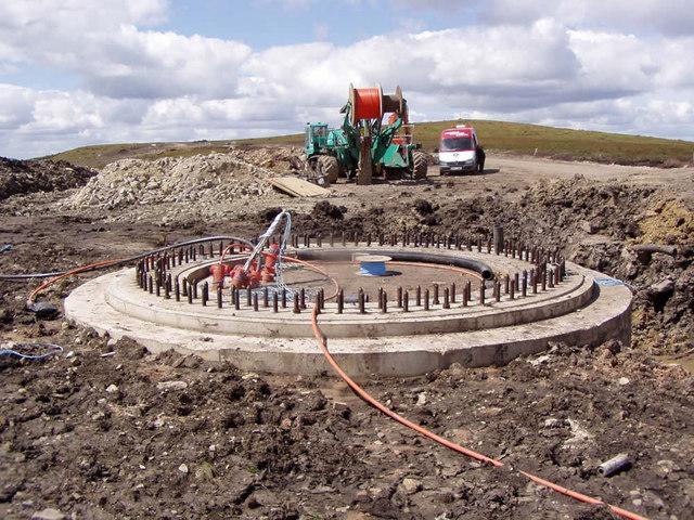 Concrete base for turbine 23
