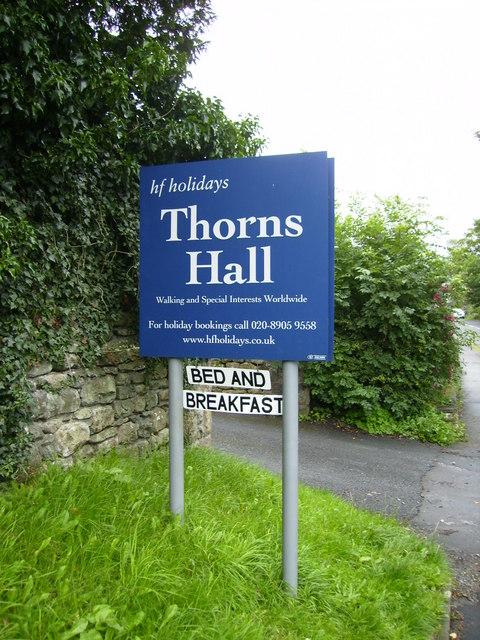 HF Holidays Thorns Hall sign on the eastern edge of Sedbergh