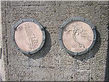 NZ4057 : Crane Sculpture by River Wear plaque by rob bishop