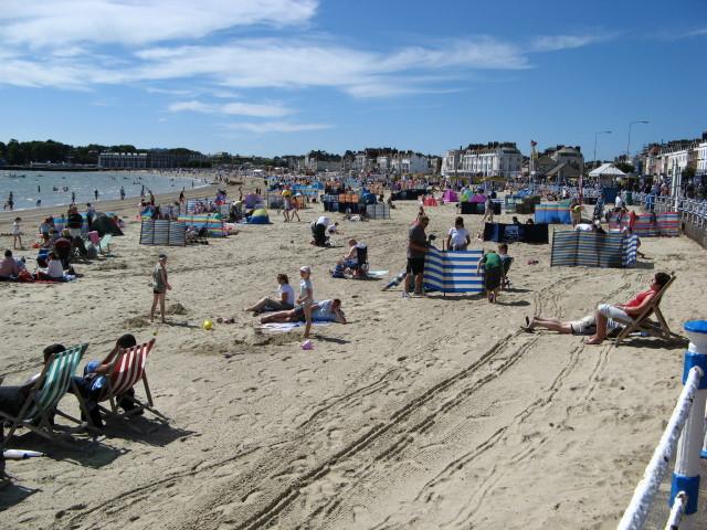 Weymouth Beach on a hot summer day
