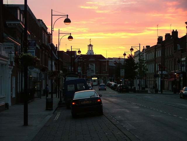 The High Street at sunset