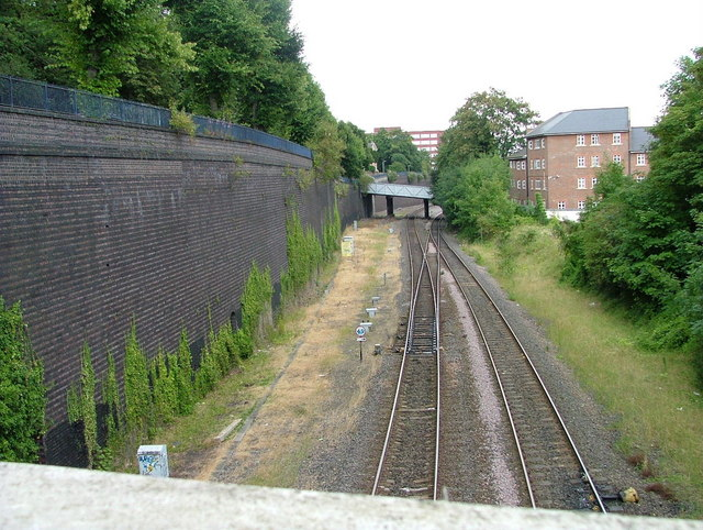 View from footbridge towards the railway station
