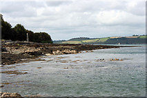 SW8234 : The rocky shore of the Carrick Roads by mike hancock