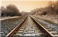 SE4006 : Railway line to Grimethorpe colliery 1995 in heavy frost. by Steve  Fareham