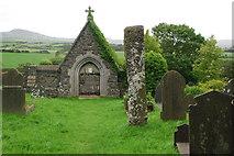 SH2332 : Eglwys a Maen Hir Sarn Meyllteyrn Church and Standing Stone by Alan Fryer