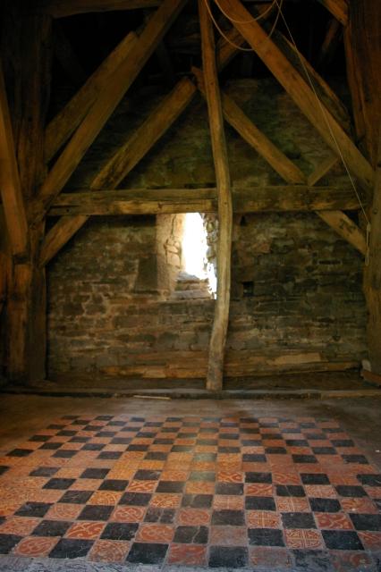 Inside Yarpole church bell tower
