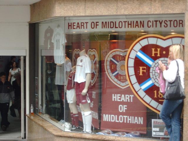 Heart of Midlothian Football Club store window