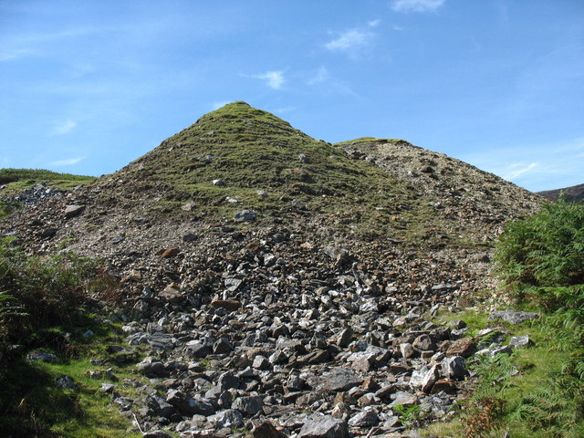 Spoil tips at Cefn Coch mine