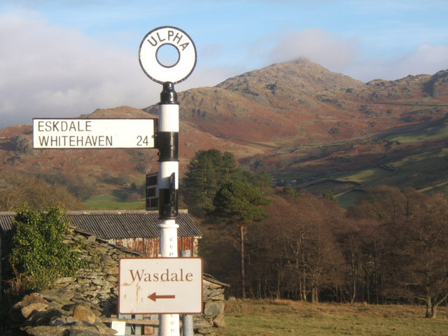 Birker Fell road signpost at Ulpha