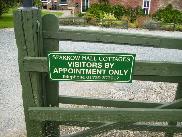 Holiday Cottages sign at Sparrow Hall