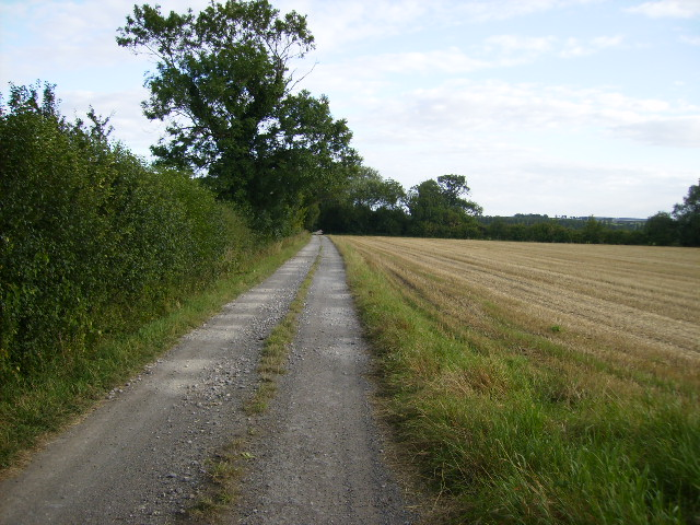 The public footpath that follows the access track to Low Field