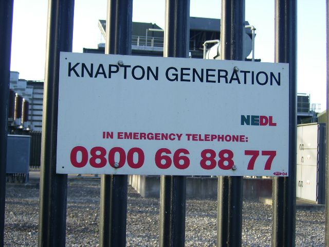 Sign at Knapton Power Station