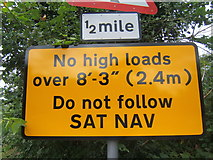 TM0954 : Close-up of traffic warning sign by Andrew Hill