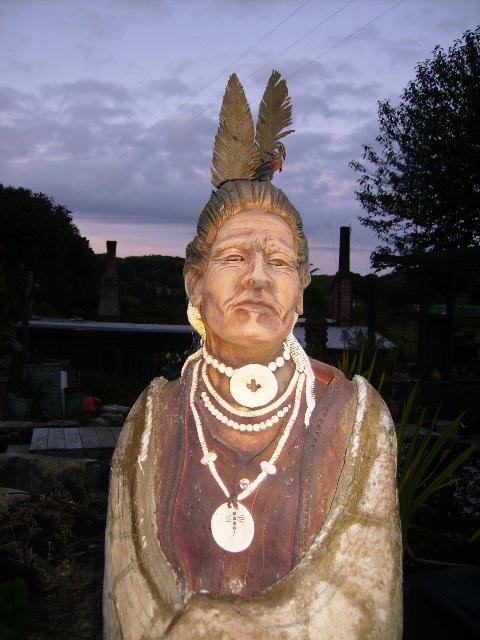 An artist's lifesized sculpture of a tribal being