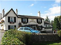 SH5571 : The Antelope Inn at the Gwynedd end of Pont Borth by Eric Jones