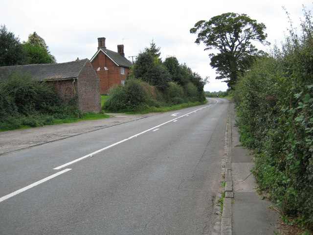 Looking west along the A531