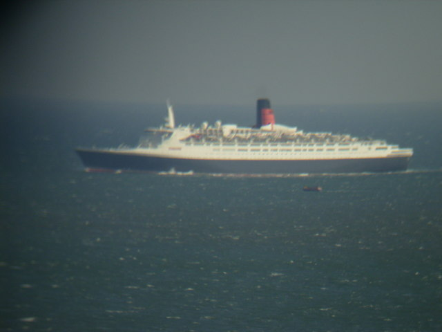 Cruise Ship QE2 passing Filey on her final trip on the North Sea