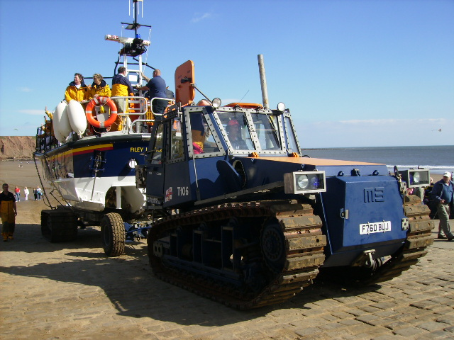 Filey Lifeboat returning to the Lifeboat Station
