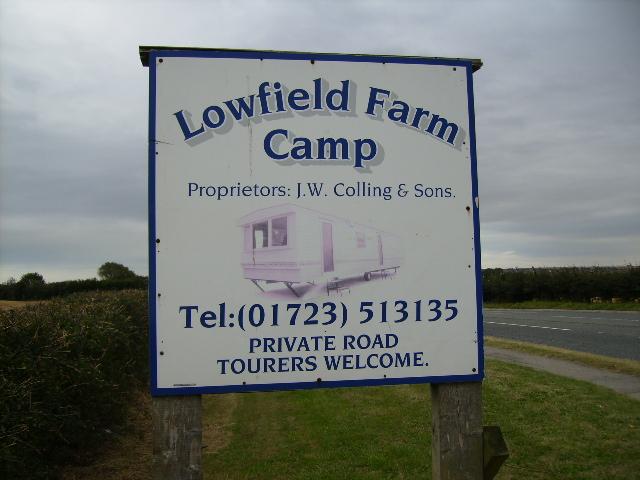 Sign at Lowfield Farm Camp - Royal Oak
