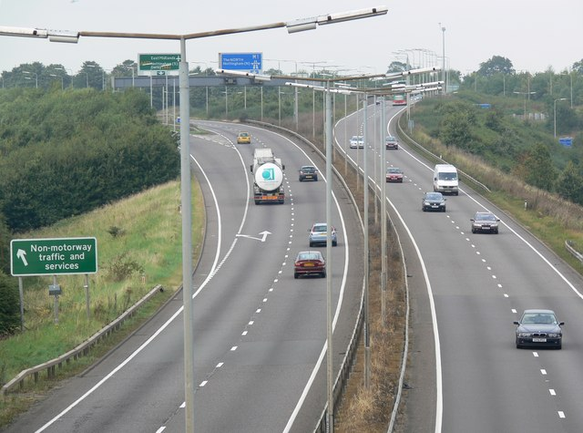 The A42 at junction 23a of the M1