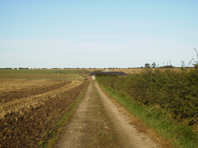 Track and farm building south of Burton Fleming