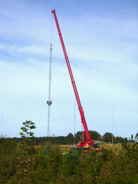 Aerial masts and crane near GCHQ Scarborough