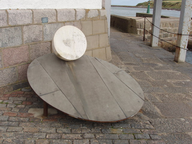"""""""Egg on a plate"""" sculpture by Aberdeen Harbour"""