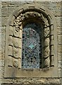 NY4348 : Wreay Church - window surround with shells and pine cones by Rose and Trev Clough