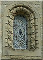 NY4348 : Wreay Church - window with butterflies and plants by Rose and Trev Clough