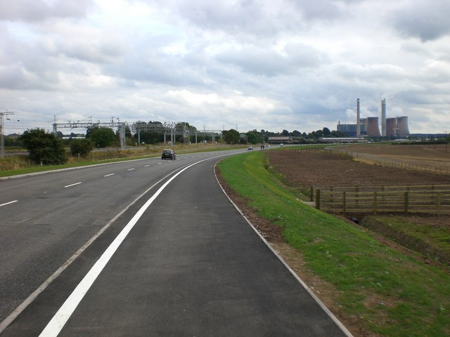 Rugeley Bypass looking South East towards power station