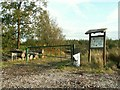 NY4071 : Information board and gate, Cistern Wood by Rose and Trev Clough