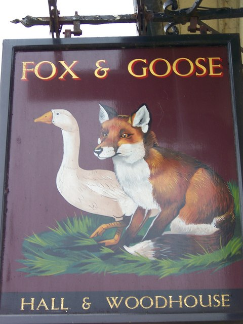 Sign for the Fox and Goose, Coombe Bissett