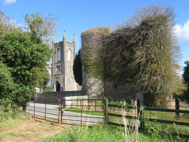 Castle and church at Haynestown, Co. Louth