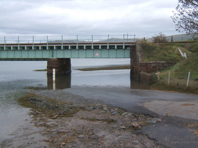 Lane blocked by high tide at Eskmeals viaduct