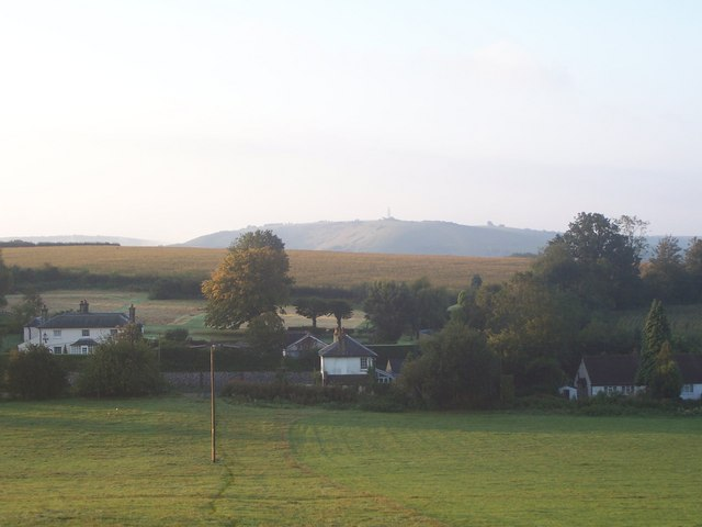 View over A272 to Butser Hill from path by Manor Farm