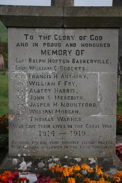 Names on Clyro War Memorial