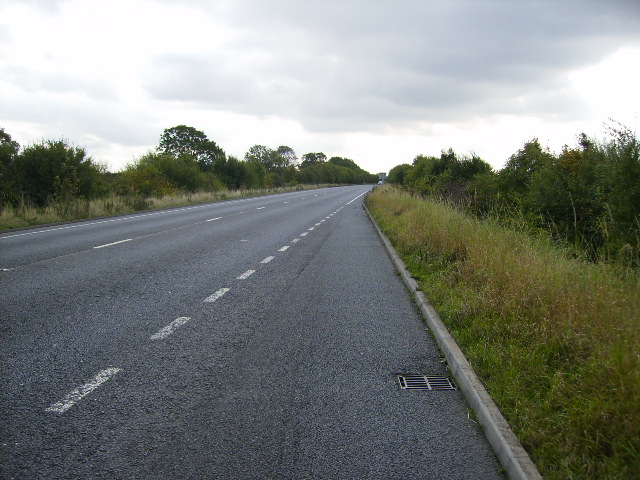 The A15 road south west of Scawby